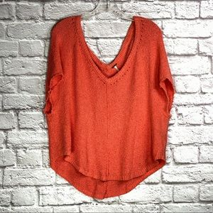 Free People Oversized Distressed Knit Top